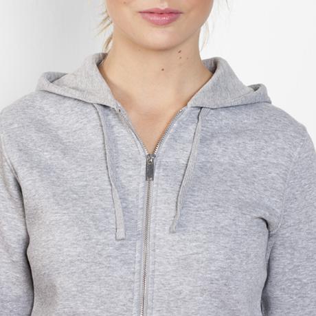 chaqueta sudadera capucha mujer entallada personalizada gris delante